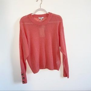 NWT Joie salmon sweater w/button details, size M